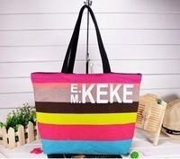 2014 Hot selling Korean fashion women handbags simple striped canvas shoulder bag wholesale