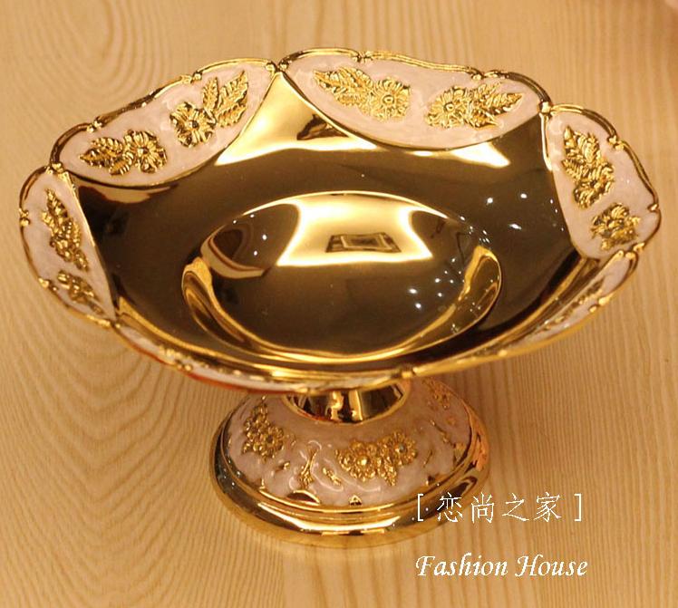 2014 segundos morte New 1 eco on-vidrados placa de forma frutas secas prato de Ktv lanche bandeja cor de ouro estilo europeu(China (Mainland))