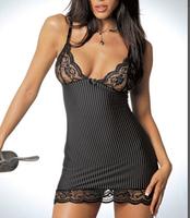 2014 Women Sexy Chiffon Lace Stripe Transparent Underwear Set Nightgown Sleep Suit Sexy Lingerie HTQQY-031