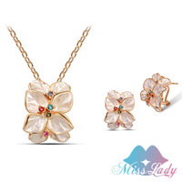 New 2014 18K Rose Gold Plated Rhinestone Crystal Vintage Rose flower African costume Jewelry Sets Fashion for women ML013