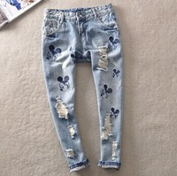 Loose Straight Jeans Spring Summer cartoon embroidery new influx of casual jeans to do the old hole