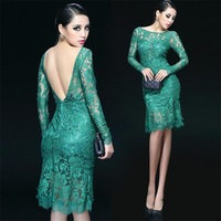 New 2014 Spring Summer Autumn Full Sleeve Knee-Length Patchwork Sheath Lace Halter Dress Sexy Party  Bodycon Vestido