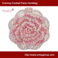 Diamond rose hard case elegance women hand bag upmarket minaudiere clutch