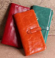Designer Wax Genuine women wallets card holder first layer of cowhide long design purse