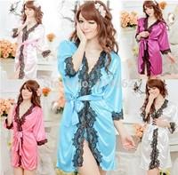 Women's sexy sleepwear translucent home casual robe spa bathrobe set temptation sexy pajamas