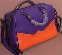 High-end Color block decoration cowhide women handbag bucket women leather handbags
