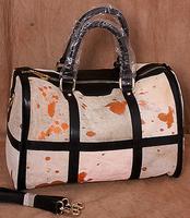 Fashion cowhide women travel bags women handbag horsehair genuine leather leopard women handbag dots totes