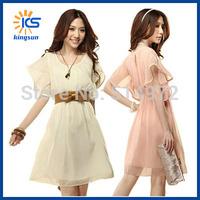 New Hot Summer Dress 2014 Fashion Women Short Sleeve Belt Casual Bandage Dresses Chiffon Ladies Sexy Party Dress Free Shipping