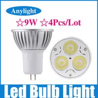4Pcs/Lot 9W GU5.3 dimmable 85-265v (110v/220v) CE Warm/Pure/Cold/White High Power LED Lamp/Spot lighting WSP05