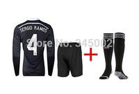 2015 Real Madrid 3rd black dragon long sleeve #4 SERGIO RAMOS Soccer Jersey set + match sock,  2015 football uniform