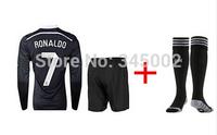 2015 Real Madrid 3rd black dragon long sleeve #7 cristiano ronaldo Soccer Jersey set + match sock,2015 football uniform