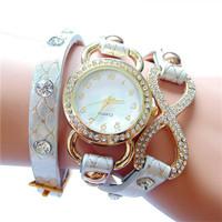 Hot! New Listing Hawaii Fashion Women Dress Rhinestone Watches Women Long Waterproof Leather Quartz Watch