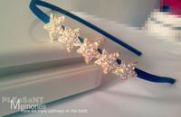 Exquisite Fashion Rhinestone Cystal Star Headbands Hairband Headwear Hair Accessories Navy Blue