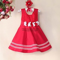 2014 Girl Dresses Red Princess Dress With Cute Flower Belt Polyeseter Dress For Party Girls In Stock Free Shipping