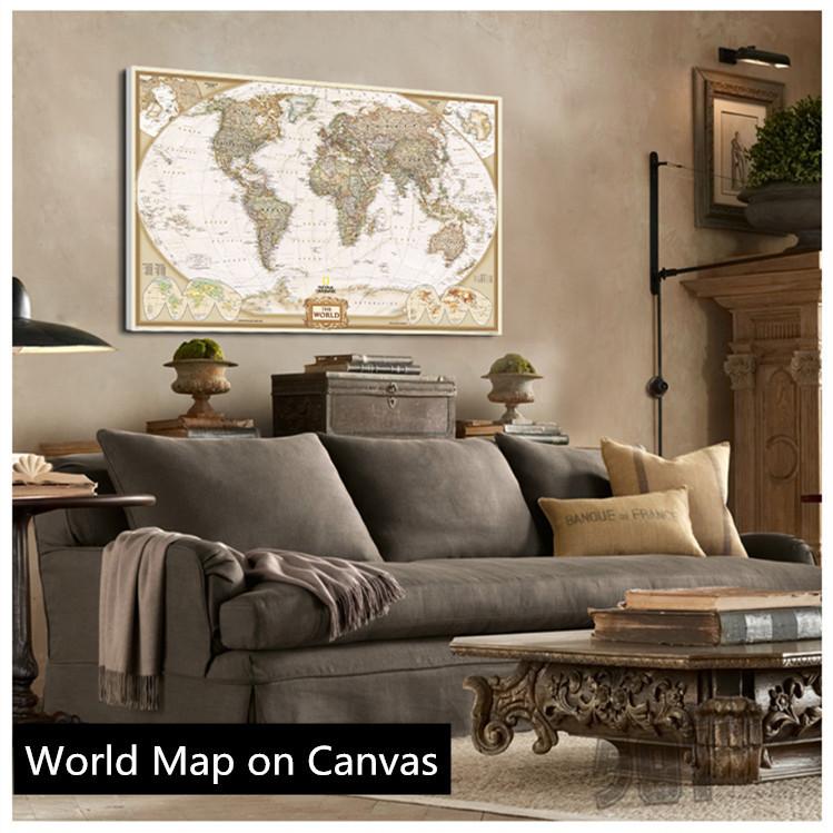 Online kopen wholesale wereldkaart schilderijen uit china wereldkaart schilderijen groothandel - Schilderij decoratie voor woonkamer ...