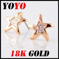 Fashion Direct Selling Freeshipping Earrings 2014 New Jewelry Women Earring Bijoux 18k -plated Starfish Zircon Earrings,hm003