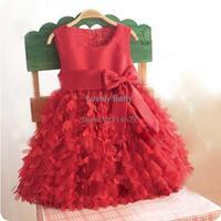 Retail 3 colors girl dresses girl's party High-grade Princess dresses chiffon Big bowknot dresse childrens dress b11 SV000588