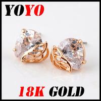 Fashion Direct Selling Freeshipping Earrings 2014 New Jewelry Women Earring Bijoux 18k -plated Leaves Zircon Earrings,hm006