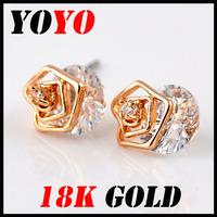 2014 new top fasion trendy rhinestone women crystal earring bijoux 18k rose gold plated flower zircon stud earrings hm008