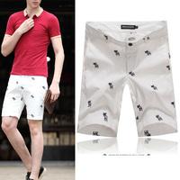 New 2014 summer Men's shorts men capris Fashion embroidered casual male shorts 100% cotton slim capris knee-length super quality