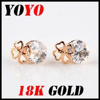 Fashion Sale Freeshipping Earrings 2014 New Jewelry Women Earring Bijoux 18k -platedfour-leaved Clover Zircon Earrings,hm010