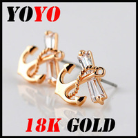 Fashion Promotion Freeshipping Trendy Earrings 2014 New Jewelry Women Earring Bijoux 18k -plated Anchor Zircon Earrings,hm014