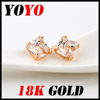 Fashion Sale Freeshipping Trendy Face Earrings 2014 New Jewelry Women Earring Bijoux 18k -plated Square Zircon Earrings,hm022