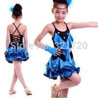 Latest Child tulle Latin dress girl dance performance wear stage princess wedding dancing kids tutu Layered Girl party dress