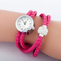 Drop Shipping 10 Colors Women's Silvery Case Long Rope Watch Quartz Analog Wrist Watch with Shamballa Bead