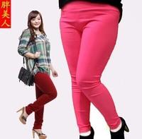 new 2014 fashion spring autumn  girl  lady women candy color high waist elastic trousers cotton pencil pants leggings XXXL PANTS