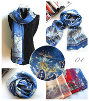 [Silk Jarcquard Scarf]50cm*170cm Print Long Scarf/100% Pure Silk/Flower Jacquard Scarves/New 2014 Spring Summer/5 Colors