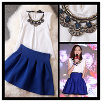 2014 spring summer women's new arrival high fashion clothing set white blouse with necklace and blue skirt free shpping T1609
