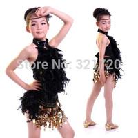 Children dancewear fashion stage kids girl Latin paillette performance dress costume clothing skirt girls dresses for party