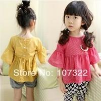 Retail cute children Dot t-shirt girls horn sleeve T-shirt summer unlined upper garment of the doll 615213