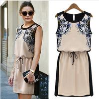 2014 Summer Za Brand Casual Women Dress Vintage Slim Print Europe America Style Ladies Vestidos Sexy Sleeveless Base Dress