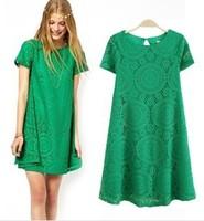 ZDQ Women Wardrobe Casual Dress New Fashion 2014 Spring Summer Vestidos High Street Novelty Plus Size Ladies Sexy Lace Dress