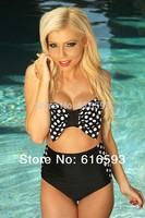 Free Shipping LC40669 Cute Girls' Swimwear Two Pieces Big Bow Bandeau Bikini Set Polka Dot Retro Style High Waist Biquini set