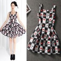 2014 New Fashion Casual Lip Poker Print Women Summer Dress S M L XL Free Shipping N26605