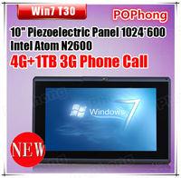 Windows 7 Tablet 10'' Piezoelectric Screen with 3G SIM Card Slot Phone Call 4G RAM Intel Atom N2600 1TB HDD T30