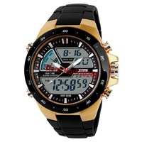 New Skmei Brand Watch Men's Sports Military Watch 2 Time Zone Digital Quartz LED Watch 50M Waterproof  Wristwatch Freeshipping