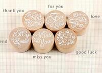Free ship 1lot=12pcs/korean stationery kawaii Round wood retro seal  Blessing words seal DIY stamps school supplies