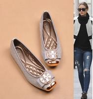 2014 Fashion brand women dress low heel casual flat shoes metal logo bow soft comfortable square toe ballet flats Free shipping