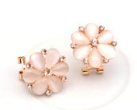 Brand New 2014 Fashion Rose Gold Plated Clip Earrings With Opal & Crsytals Flower Earrings For Women Free Shipping E00695