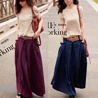 Women long skirt 2015 Spring Summer Autumn saia longa Solid linen skirt Maxi Skirts Womens Big Pockets saia Casual Skirts