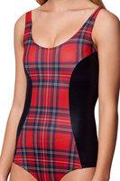 2014 New Bikini Sexy Swimsuit Tartan Vs Wet Look Bodysuit Digital Printing Swimwear Women Drop Shipping  Y210-029