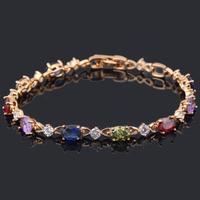 Noble 18K k Gold Plated Bracelets AAA Zircon & Beautiful Color Crystal Health Nickel & Lead free Fashion jewelry TB243