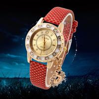 1pcs New Rhinestone Watches Snake Pendant Women Quartz Watch PU Leather Fashion Wristwatches Discount 2014