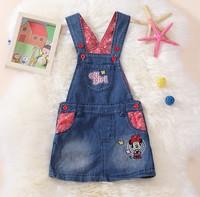 2014 free shipping Retail 1 set Top Quality summer girl strap denim Skirts casual Skirts fashion mini dress cartoon mouse Skirts