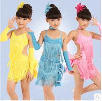 children latin dance dress kids halter braces skirt tassel latin dress for stage performance