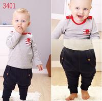 2014 free shipping Retail 1 set Top Quality boy clothing suit Tshirt+Strap pants 2pcs suits kids fashion garment autumn